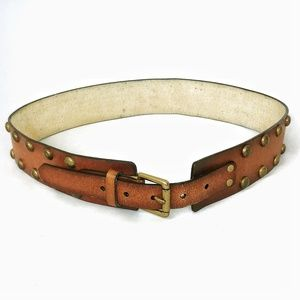 🔥4/$25 Nobo brown Leather studded belt size S/M